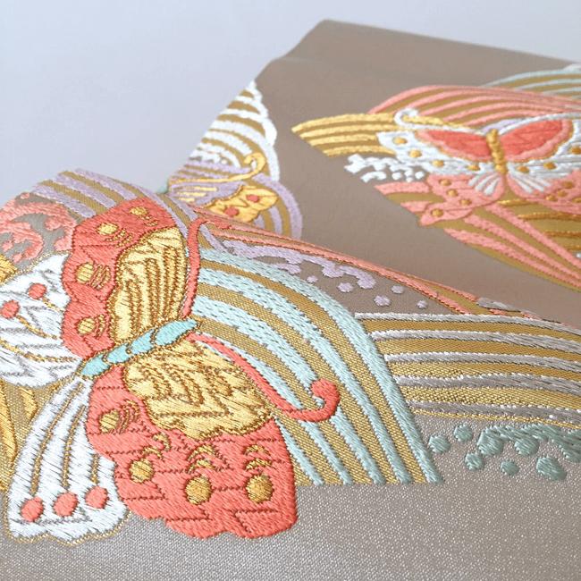 青海波&蝶文様の帯