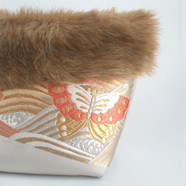 青海波&蝶文様の帯とフェイクファーのインナーバッグ