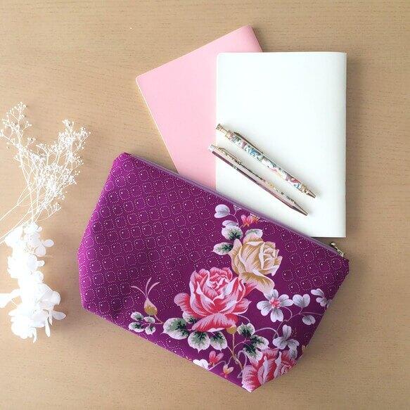 薔薇や紫色がお好きな方に - レトロ可愛い薔薇文様の着物リメイク
